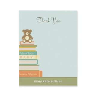 Bring A Book Baby Shower Thank You Cards (Blue) Custom Invites from