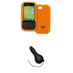 EMPIRE Orange Silicone Skin Case Cover + Retractable Car