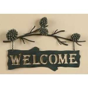 PINE CONE Lodge Welcome SIGN Metal WALL art Home Decor