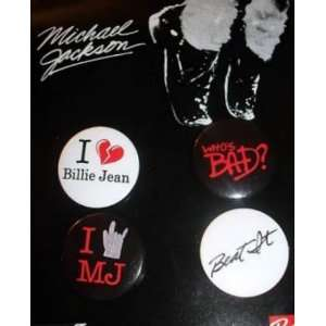 Michael Jackson Quoted Music Song Titles 4 Button Pack   Collectible