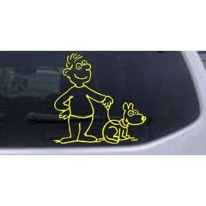 Yellow 12in X 12.2in    Man and Dog Stick Family Car Window Wall