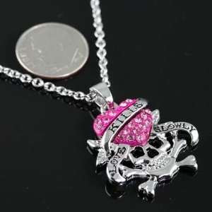 Love Kills Slowly Pink Crystals Heart Skull Necklace