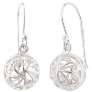 Sterling Silver Filigree Open Ball Drop Earrings Jewelry