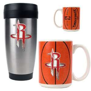Houston Rockets NBA Stainless Steel Travel Tumbler & Game ball Ceramic