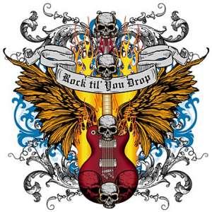 ROCK SKULL GUITAR TATTOO STYLE LONG SLEEVE T SHIRT