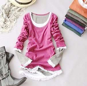 Lovely Floral Trendy Knit New Women Shirt Top