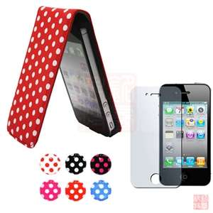Pink POLKA DOT LEATHER FLIP CASE COVER+Screen Protector+Sticker For