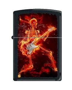 ZIPPO LIGHTER FLAMING GUITARIST SKELETON 5907 in BLACK MATTE