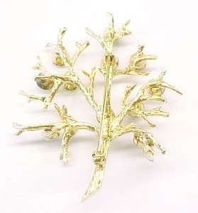 Multi Color Rhinestone Gold Plated Sterling Silver Tree Brooch / Pin