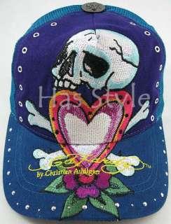 Ed Hardy trucker Cap PurpleTeal Skull & LOVE Gem Stud