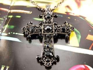 Black Detail Flower Flourish Carved Crystal Rhinestone Cross Pendant