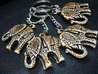 4pcs tibet elephants totem lucky amulet yak bone powder lovely key