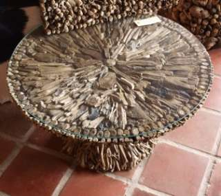 Driftwood Round Glass Topped Coffee Table