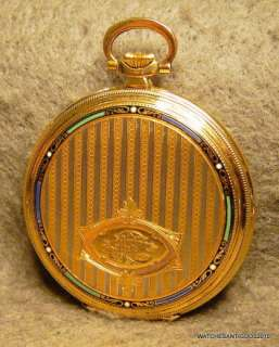 ZENITH POCKET WATCH ART DECO 18K SOLID GOLD ENAMEL CASE