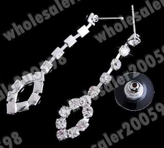 Bridal Set/Rhinestone Crystal Clear Necklace&Earrings