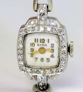 ANTIQUE RIMA DECO PLATINUM 14K WHITE GOLD .30CT DIAMOND LADIES SNAKE
