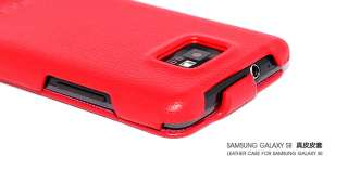 HOCO RED Genuine Leather Flip Case Cover for Samsung Galaxy S2 i9100