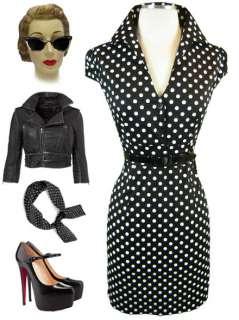 50s Style BLACK & White POLKA DOT Pinup SODA Jerk Puff Cap Slv BELTED