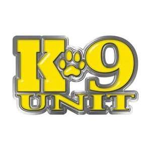 Reflective K9 Unit with Dog Paw Law Enforcement Decal in Yellow   7.5