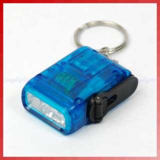 Mini Hand Crank Power Flashlight Torch 2 LED Light Blue