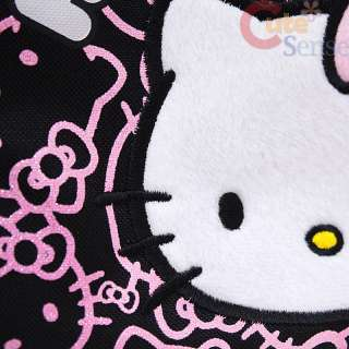 Sanrio Hello Kitty School Lunch Bag / Snack Box Black Pink Glittering