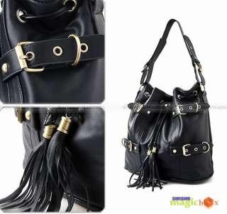 Women PU Leather Tassel Bucket Shoulder Bag Handbag 184
