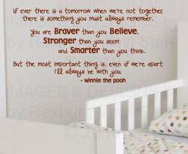 Winnie the Pooh Vinyl Wall Art Sticker Decal Quote Inspirational