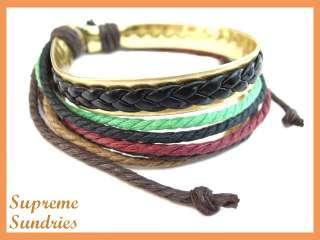 4pcs Stylish Tribal Hemp Surfer Leather Bracelet 503