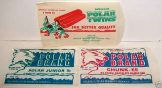 1940s POLAR BEAR BRAND HOLBROOK ICE CREAM MICH. BAG LOT