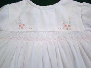 EXQUISITE SARAH LOUISE 6M WHITE VOILE SMOCKED DRESS