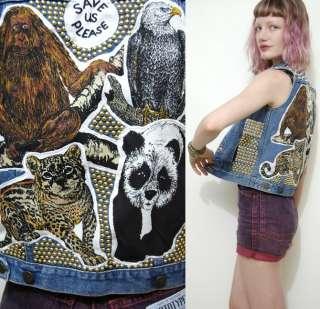 STUDDED 70s Vintage CROP Denim Vest ANIMAL PATCH Grunge STUD Punk VTG