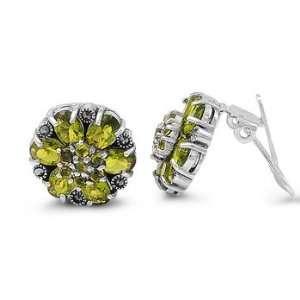 Sterling Silver Peridot & Marcasite Flower Earrings Jewelry