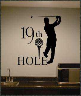 Golf 19th Hole Sports Vinyl Wall Lettering Quote Bar Decal Large Size