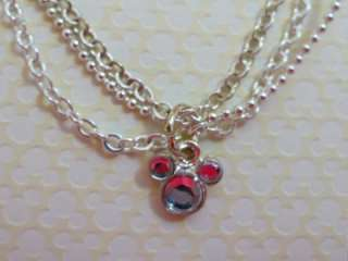 Crystal MICKEY MOUSE Ears Icon 3 strand anklet NEW on Card Walt Disney