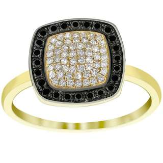Black & White Diamond Micro Pave Cocktail Ring 14K Yellow Gold