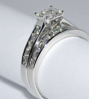 DIAMOND BRIDAL SET 2 PC ENGAGEMENT RING + WEDDING BAND 1CT SQUARE TOP