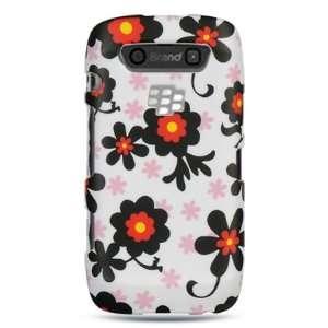 VMG BlackBerry Torch 9850/9860   Black/Pink Daisy Flowers Design Hard