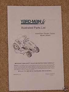 MTD YardMan Hydro U804H Lawn Garden Tractor Part Manual