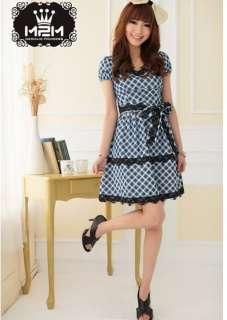 Sweet Checks Lace Embellished Bowknot Dress new Skirt