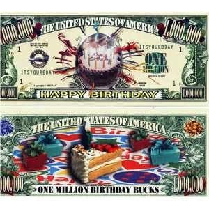 Set of 100 Happy Birthday One Million Dollar Bill Toys