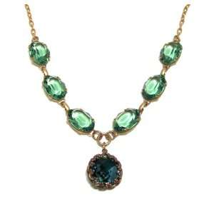 Catherine Popesco 14K Gold Plated Indian Sapphire and Marine Faceted