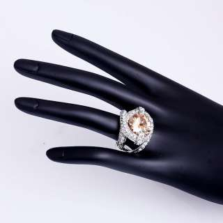 Big cz White Gold Plated Crystal Fashion Ring 20R