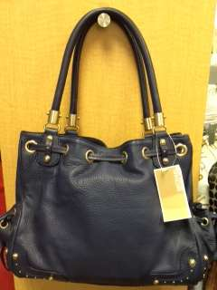 Michael Kors Leather Blue Satchel Handbag