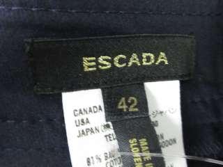 ESCADA Navy Blue Stitching Pants Slacks Trousers Sz 42