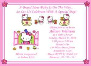 Hello Kitty Tea Party Style Baby Shower Invitations