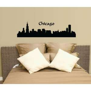 Chicago City Scape Wall Decal Sticker Quality Vinyl Large Nice Decor
