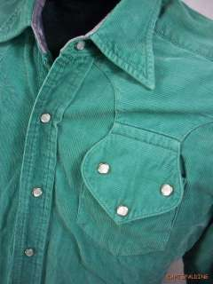 Vtg 50s Tem Tex.Corduroy Western Cowboy Shirt.Mens M. Green Turquoise