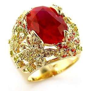 Cocktail Rings   Oval Cut Ruby Red Butterfly Flower CZ Ring Jewelry