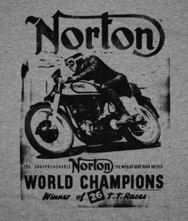 Norton World Champion Motorcycles Road Hog Vintage Style T Shirt Tee
