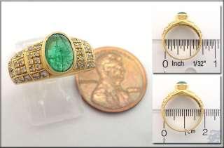 v3440   18K SOLID GOLD RING CABOCHON EMERALD & DIAMOND